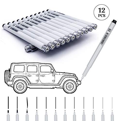 Precision Micro-Line Pens, Fineliner, Multiliner, Waterproof Archival Ink, Artist Illustration, Sketching, Technical Drawing, Office Documents & Scrapbooking 12 / Set, Black