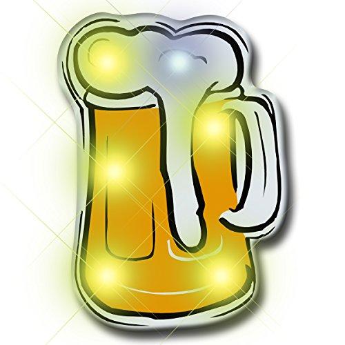 Beer Mug Flashing Blinking Light Up LED Body Light Lapel Pins (25-Pack)