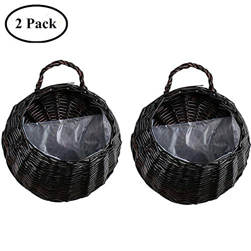 Yunhigh Wicker Hanging Basket Rattan Braided Hanging Planter Handmade Flower Pot Wall Decorative Artificial Flower Vine Flowerpot Container,Set of 2 by Yunhigh
