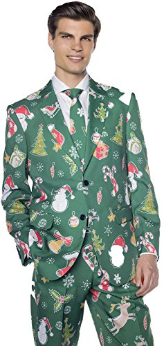 Men's Christmas Suit with Trees, Snowmen & Santa | Awesome Holiday Costume in Green (L/XL - (Real Santa Suit)