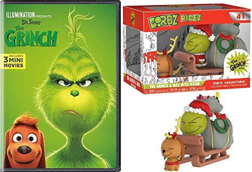 Sled Ride Max & Grinch + Illumination Dr. Seuss Christmas Animated Holiday Classic + Bonus Who-ville Funko Green Grinch Ridez Figure Pack DVD Deluxe 3 Mini Cartoons edition (Grinch Sled)