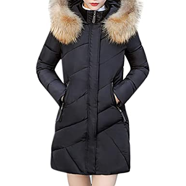 SOMESUN Warm Overcoats Zipper Hooded Tops Women Hooded Outwear Warm Coat  Long Thick Fur Collar Cotton c4fa29b8e95