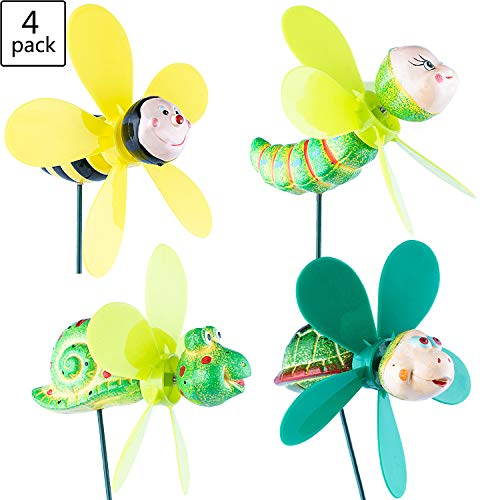 (Wind Spinners Pinwheels Whirlygigs Garden Stakes Decorations Outdoor Lawn Decorative Yard Decor Patio Accessories Windmills Ornaments Plastic Gardening Art Mini Christmas Whimsical Gifts (Pack of 4))