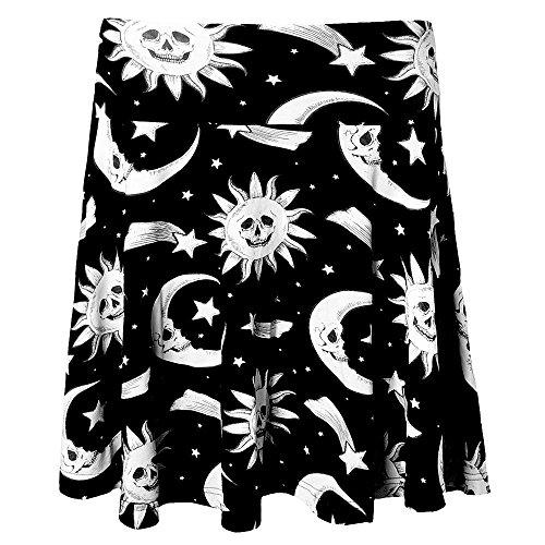 Kill Star okkult Mujer Skater Rock–cozmic Death Girlie Mini Falda Media Luna, sol, estrellas