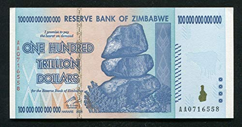 1 X 100 Trillion Dollars Zimbabwe, Uncirculated Note 100 Trillion Note 2008 Aa - genuine rare For collectors (Only 5 sets left) (Zimbabwe Currency Circulated)
