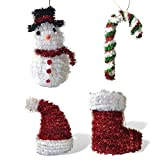 Banberry Designs Red and Green Christmas Ornaments - Set of 4 Whimsical Tinsel Xmas Tree Ornaments - Snowman - Santa Hat - Candy Cane - Stocking