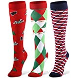 Compression Socks for Men & Women - 20-30mmHg 2 to 6 pairs Compression Stockings for Runners, Edema (Large/X-Large, Christmas Style 2, 3 Pairs)