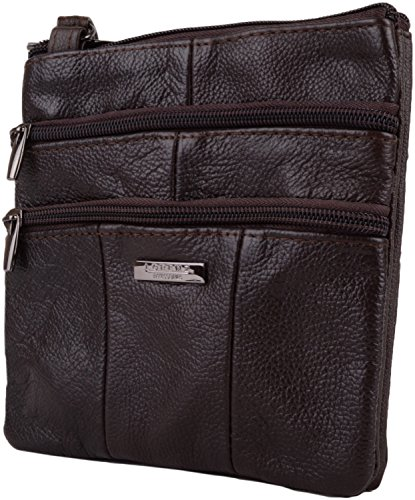 Brown Dark Ladies Body Multiple Shoulder Small Womens Features Cross Bag Leather with PwPRaqg