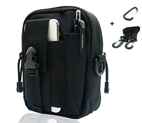 Pouch Waist Utility Pack (Sevenpicks Tactical Waist Pack Multi Purpose bag EDC Pouch Utility Upgraded version with strap Camping Hiking Pouch Nylon Cell Phone bag(Black))