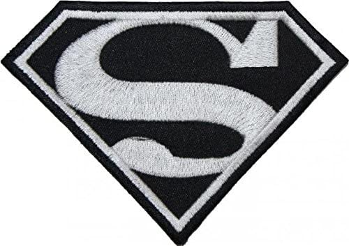 Amazon Com Superman Classic Black White Logo Embroidered Patch Badge Iron On Sew On 12 75cm Shipped From Usa Arts Crafts Sewing