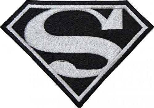 Superman Classic Black & White Logo EMBROIDERED PATCH Badge Iron On - Sew On 12.75cm- Shipped From USA