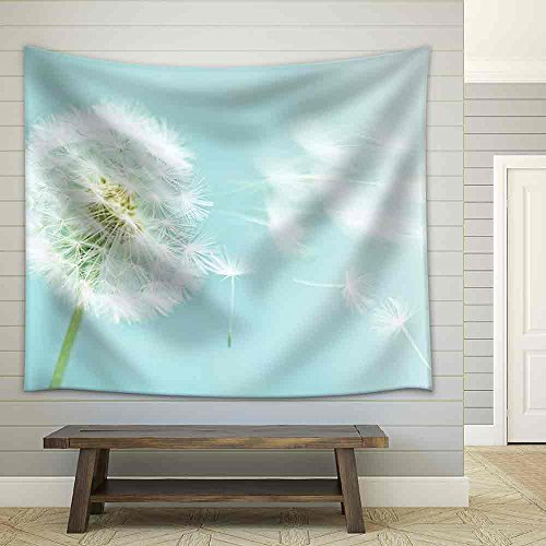 Dandelion on Blue Sky Background Fabric Wall
