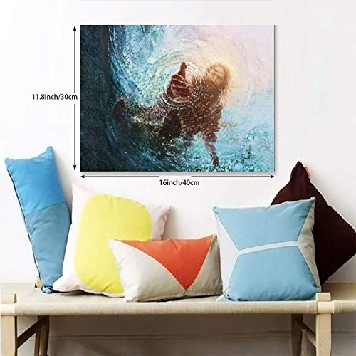 POOPEDD The Hand of God Painting - Jesus Reaching Into Water Oil Painting Digital Print On Wall Art Canvas Home Decor Modern Artwork for Home Decoration for Studyroom Ready to Hang -