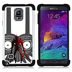 GIFT CHOICE / Defensor Cubierta de protección completa Flexible TPU Silicona + Duro PC Estuche protector Cáscara Funda Caso / Combo Case for Samsung Galaxy Note 4 SM-N910 // Tribal Red Devil //