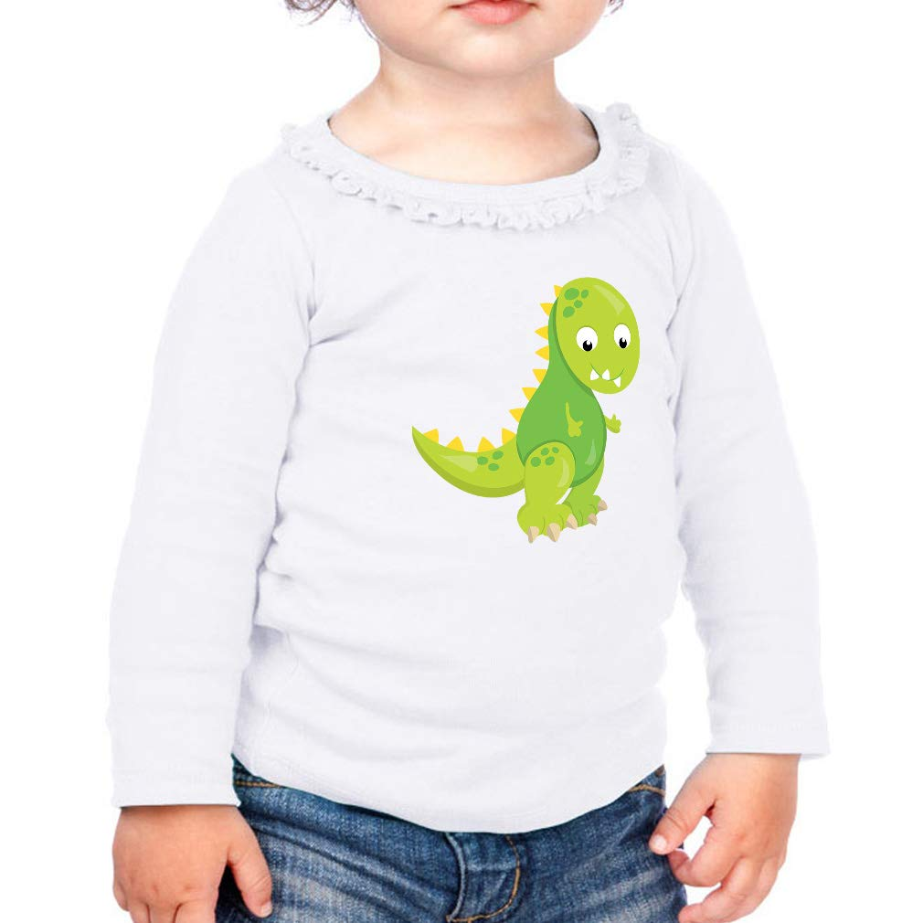 Baby Dino Green Cotton Girl Toddler Long Sleeve Ruffle Shirt Top Sunflower