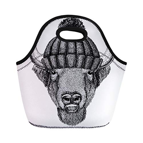 (Semtomn Neoprene Lunch Tote Bag Buffalo Bison Ox Bull Cool Animal Wearing Knitted Winter Hat Reusable Cooler Bags Insulated Thermal Picnic Handbag for Travel,School,Outdoors, Work)