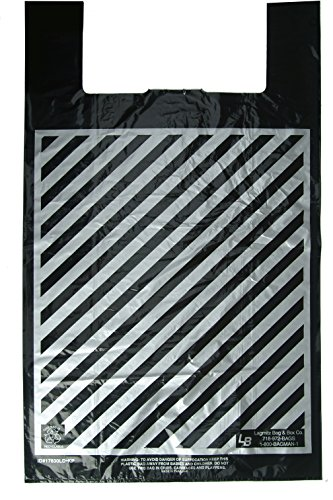 Plastic Shopping Bags, 100pcs''Super-Jumbo'' Size:23x9x43, 20 Microns Black Bag with Silver Stripes, 56.99 per 100, 56.9 Cents per Bag. by LAGMITZ