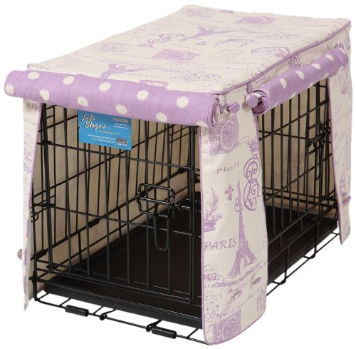 Crate Covers and More Double Door 36 Pet Crate Cover, Parisian Lilac with Lilac Polka Dot by Crate Covers and More