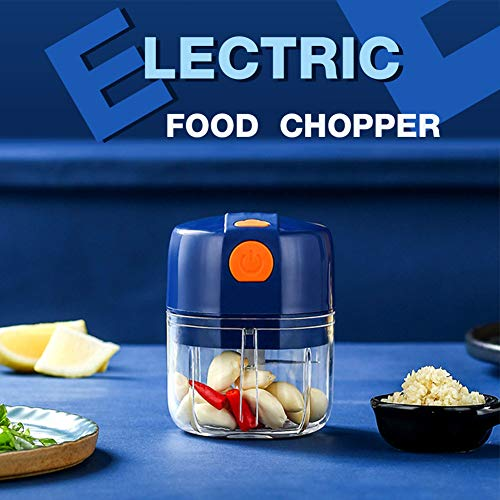 Rechargeable Garlic Chopper Mincer Wireless Electric Mini Food Chopper Kitchen Mini Food Processor for Fast Chopping Meat Garlic Onion Nut Vegetable 250ml
