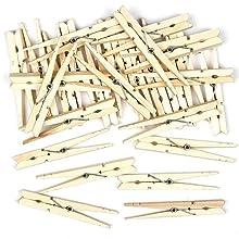 Pinzas para manualidades de madera natural para crear collages y decoraciones (pack de 4).