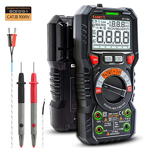 KAIWEETS Digital Multimeter TRMS 6000 Counts Ohmmeter Voltmeter Auto-Ranging Fast Accurately Measures Voltage Current Amp Resistance Diodes Continuity Duty-Cycle Capacitance Temperature(LED Jacks)