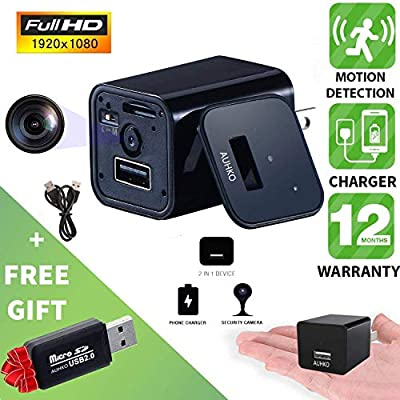 Hidden Camera, AUHKO 1080P HD Spy Camera Motion Detection USB Hidden Camera Surveillance Camera Mini spy Camera Nanny Camera Best Spy Camera Charger Hidden Camera Charger Nanny Cam from AUHKO