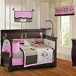BabyFad Pink Blossom Butterfly 10 Piece Baby Crib Bedding Set