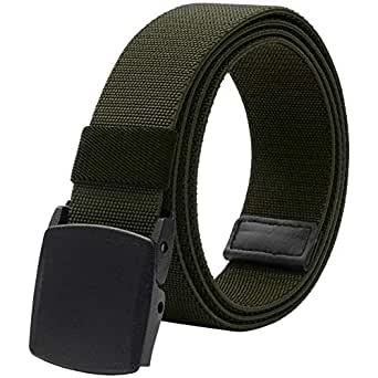 "Elastic Belt for Men, Stretch Canvas Belt with YKK Plastic Buckle, Breathable Waist Belt for Work Outdoor Cycling Hiking, Adjustable for Pants Size Below 46inches[53""Long1.5""Wide] (Army Green)"