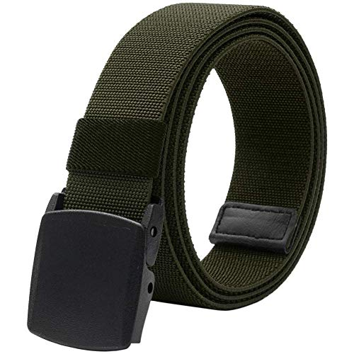 Men's Elastic Stretch Belt,Military Tactical Belts Breathable Canvas Web Belt for Men Women with No Metal Plastic Buckle for Work Outdoor Sports,Adjustable for Pants Shorts Jeans Below 46