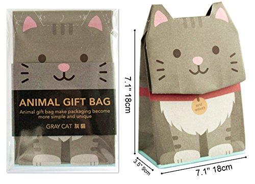 GOTOME Animal Gift Bag Origami Paper Bag, Gray Cat, Large, 7.5