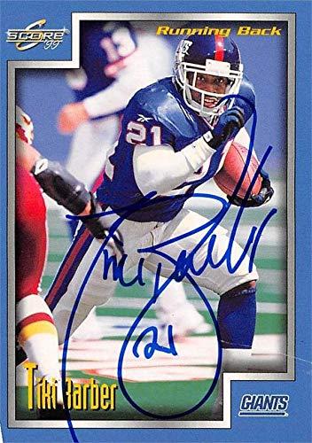 Tiki Barber autographed football card (New York Giants) 1999 Score #39 - NFL Autographed Football Cards Barber Autographed Nfl Football