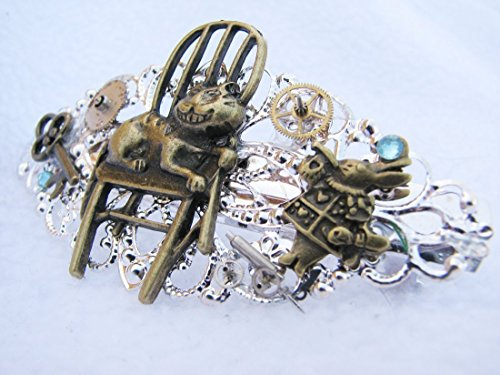 Alice in Wonderland Steampunk Barrette Hair Clip Headband Custom Charms (Alice In Wonderland Shop)