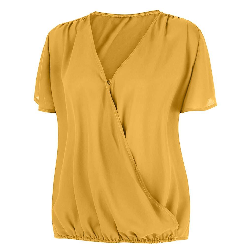 Selou Damen Sommer Kurzarm V-Ausschnitt Hemd Solide Pullover Bluse Tops M/ädchen Spaghetti Lose Breite Tr/ägerlos Gro/ße Gr/ö/ßen Kreative Schwarz Sport Fitness Wei/ß Tank Tops