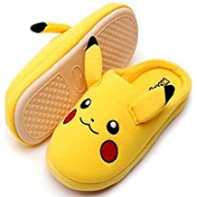 Pikachu Cute Cotton Mens and Womens Winter Warm Heated Soft Home Indoor Slippers Non-Slip