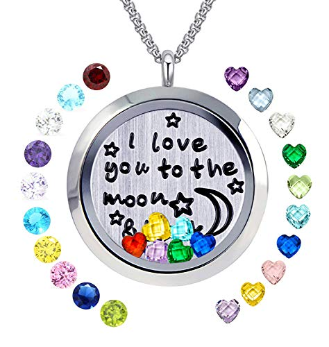 YOUFENG Floating Living Memory Locket Pendant Necklace Family Tree of Life Necklace All Birthstone Charms Include (Moon Back 24 Birthstones Locket)