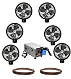 Kit of (6) HIGH PRESSURE - 18'' Oscillating Mist Fans, Enclosed Pump and 100 feet Tubing
