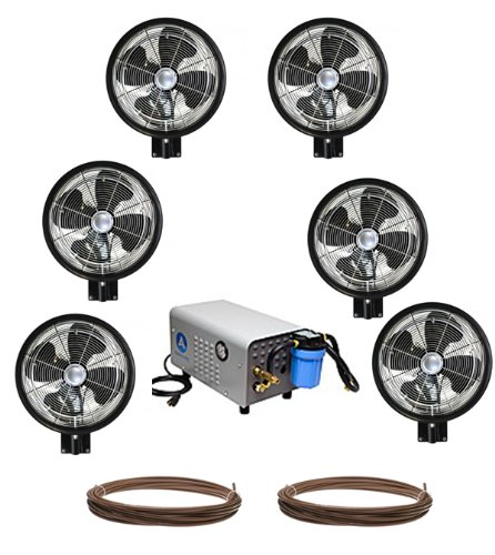 Kit of (6) HIGH PRESSURE - 18'' Oscillating Mist Fans, Enclosed Pump and 100 feet Tubing by Advanced Systems