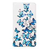 Miagon for iPhone 8/7 Marble Wallet Case,PU Leather Flip Case Magnetic Closure Stand Function Folio Cover Shell,Blue Butterfly