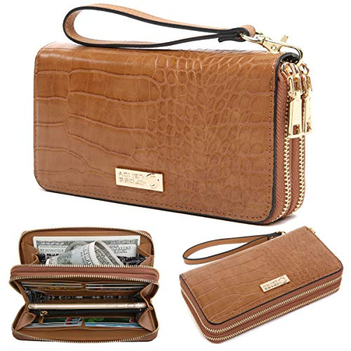 D Blocking Double Zip Around Wallet Leather Clutch Wristlet ()