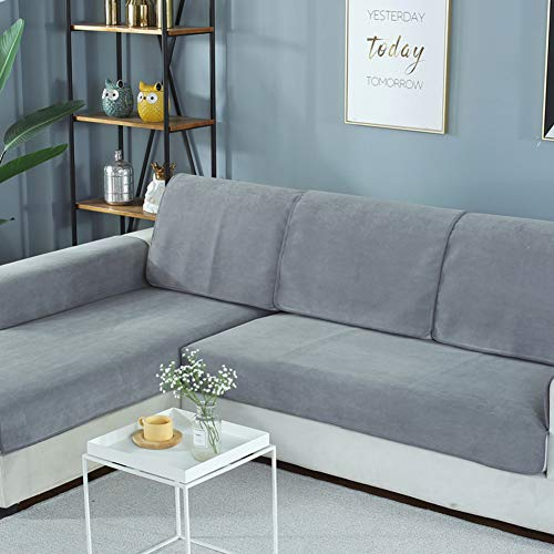 (YYJDGXXCP Solid Color Waterproof Slipcover Sofa Non-Slip Breathable Sofa Cushioning Covers Sectional Stain-Resistant Soft Couch Covers Four Seasons Machine Washable-Gray 50x70cm(20x28inch))