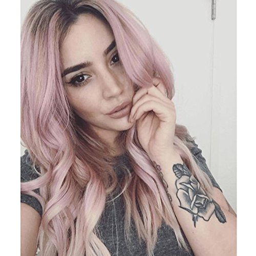Womens Part Number (Hot light Pink Ombre Sytnhetic Wigs for Black Women Side Part Natural Wavy Curly Wigs for White African Women Dark Roots Ombre Heat Resistant Wigs Middle length)
