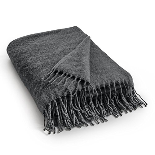 Mohair Wool Throw - La Redoute Tasuna Throw With Wool And Mohair Grey Size King (160 X 200Cm)