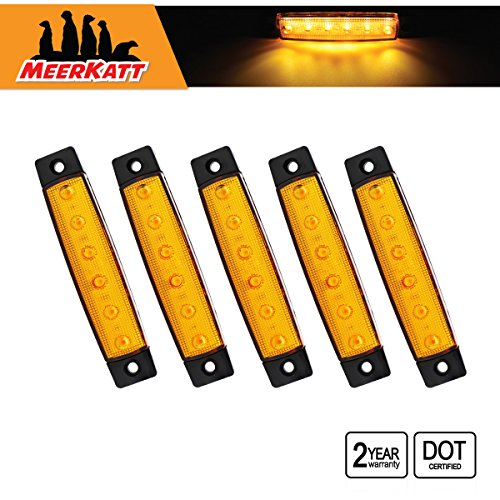 (Meerkatt (Pack of 5) 3.8 Inch Amber 6 LED Marker Lamp SMD Extra Bright Side Indicators Blaze Turn Signal Clearance Light Tail Truck Trailer Cap Bus Car Boat Camper Lorry)