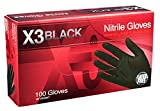 AMMEX - BX348100-BX - Nitrile Gloves - Disposable, Powder Free, Latex Free, 3 mil, Food Safe, XLarge, Black (Box of 100)
