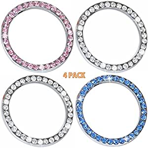 4pcs Car Interior One-Key Engine Start Stop Ignition Push Button Decorative Diamante Ring Crystal Rhinestone Car Bling Sticker for Cars Trucks Jeeps SUV