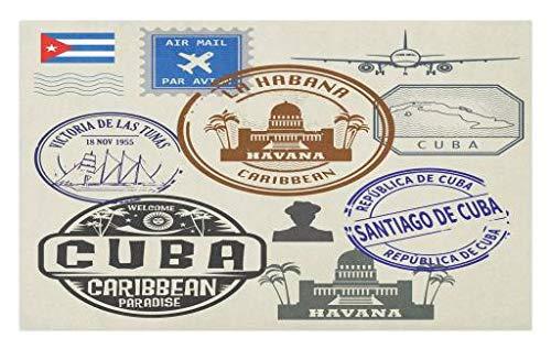 Lunarable Havana Doormat, Travel Concept Passport Stamp Design of Cuban Cities and Landmarks, Decorative Polyester Floor Mat with Non-Skid Backing, 30