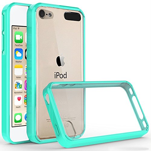 iPod Touch 6th Generation Case,iPod Touch 5 Case, Jwest Shock-Absorption TPU Bumper + Scratch Resistant Clear Hard PC Panel Back Cover Apple iPod Touch 5th 6th Generation - Mint