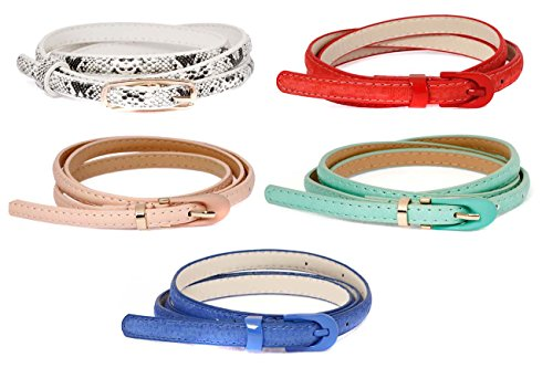 BMC Womens 5pc Mix Color Faux Leather Fashion Statement Skinny Belts Bundle-Set 2, Accessory Maven