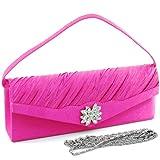Dasein Women's Satin Pleated Clutch Evening Purse Bag w/ Rhinestone Flower Brooch -Hot Pink, Bags Central