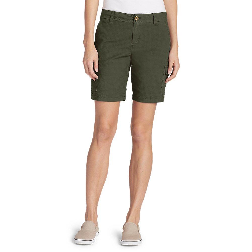 Eddie Bauer Women's Adventurer Stretch Ripstop Cargo Shorts - Slightly Curvy, S,6 Regular,Sprig (Green)